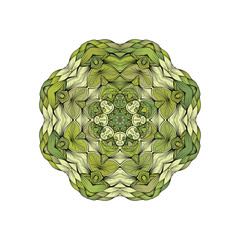 Green mandala with outline circle shape on white background vector illustration. Ethnic decorative image mandala with different shades green