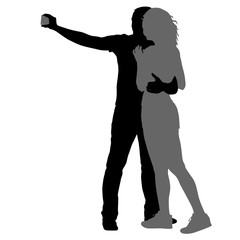 Silhouettes man and woman taking selfie with smartphone on white background. Vector illustration
