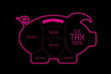 Illustration idea of tax cuts in the United States.