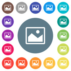 Single picture flat white icons on round color backgrounds