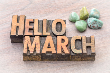 Hello March in vintage wood type
