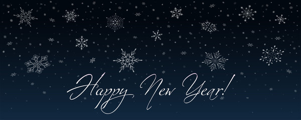 Happy new year card with falling snowflakes