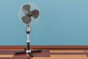 Standing pedestal electric fan in room on the wooden floor, 3D rendering