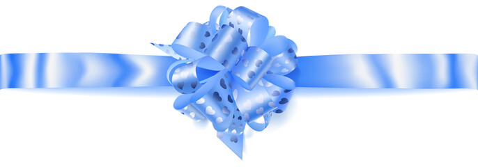 Beautiful big horizontal bow made of light blue ribbon with small shiny hearts with shadow on white background