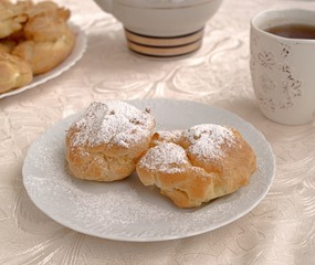Very tasty brewed cakes with curd cream