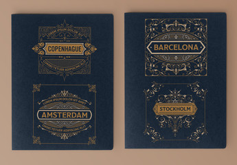 4 Vintage Labels in Blue and Gold