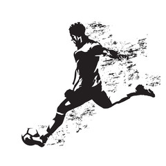 Soccer player kicking ball, abstract grungy vector silhouette