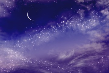 The sky at night with stars. New moon . Ramadan background . Prayer time .  Dramatic nature background . Arab night
