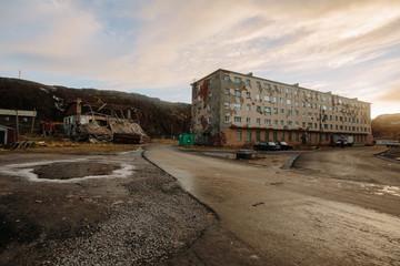 Old House in Russia North. Village Teriberka, Murmansk region, Kola Peninsula