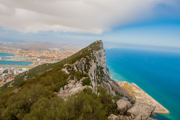 United Kingdom Gibraltar panorama view to the ocean, city ships and pick from high point