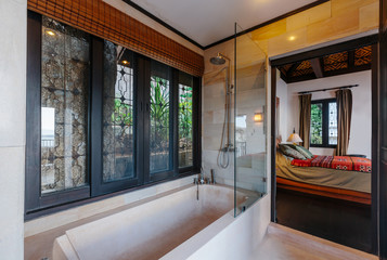 Bathroom and bedroom modern design interior in luxury villa