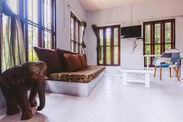 Tropical luxury villa interior, living room