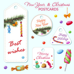 New Year and Christmas Postcards with watercolor hand drawn elements.