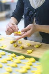 Preparing stuffed pasta tortelli con la coda in Piacenza, Italy