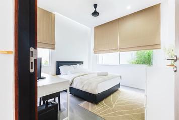 Modern bed room interior in Luxury villa. White color