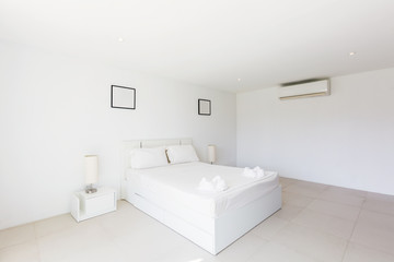 Modern bed room interior in Luxury villa. White colours