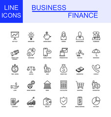 Universal Business And Finance Line Icon Set