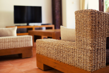 Wicker furniture in modern interior design
