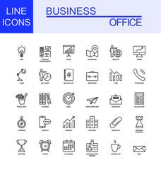 Universal Business And Office Line Icon Set