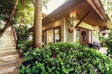 Interior of Tropical house outdoor with tropical garden