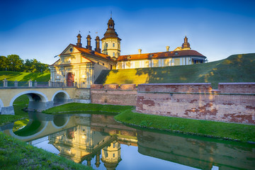 Travel Ideas and Concepts. One of The Gates of Nesvizh Castle as an Example of Belarussian Historical Heritage of Radzivil Family Residence. Wall mural