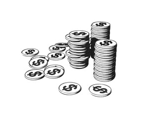 Engraving coin pile set isolated on white BG