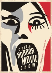 Horror movies poster design with dreadful face screaming. Cinema poster for scary movies classical show.