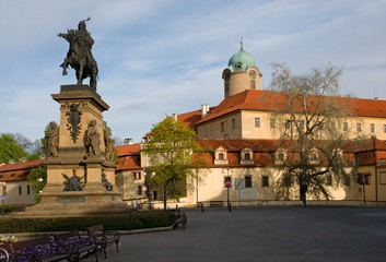 Castle Podebrady  with the statue of King George from the Poděbrad, Central Bohemia, Czech republic