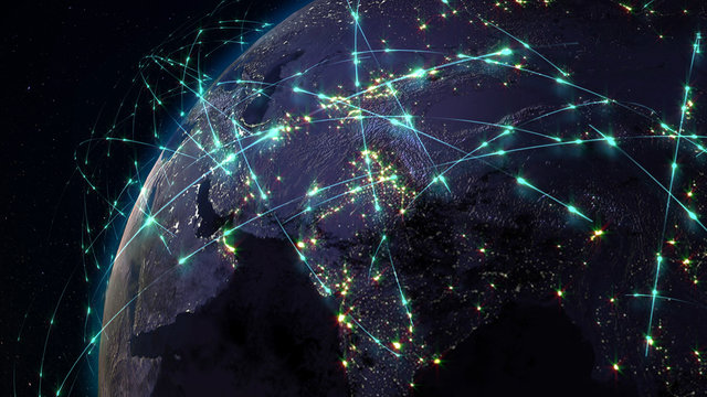 3D rendering abstract of world network, internet and global connection concept