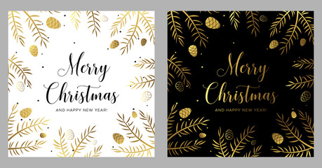 Merry Christmas and Happy New Year greeting card with black and gold branches and pine cones.