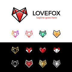 Love fox head logo line fox. heart logotype set