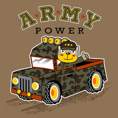 military truck cartoon with funny soldier