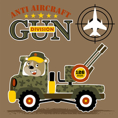 military truck cartoon with anti aircraft gun