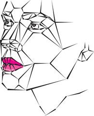 geometric woman face vector illustration lips