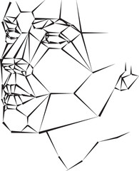 geometric woman face vector illustration black and white