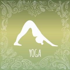Yoga logo. Girl practicin Downward Facing Dog pose - Adho Mukha Svanasana.