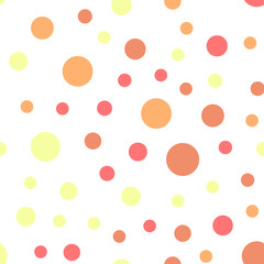 Colorful polka dots seamless pattern on white 21 background. Mesmeric classic colorful polka dots textile pattern. Seamless scattered confetti fall chaotic decor. Abstract vector illustration.
