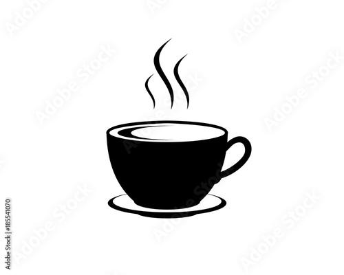 Vector Black Coffee Cup For Cafe Or Restaurant Illustration Logo