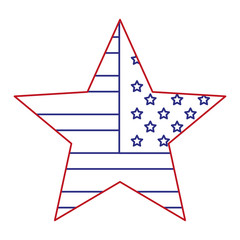 star with USA flag isolated icon