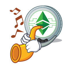 With trumpet Ethereum classic character cartoon