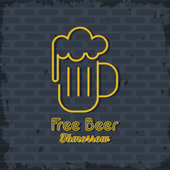 Free Beer neon lights icon icon vector illustration graphic design