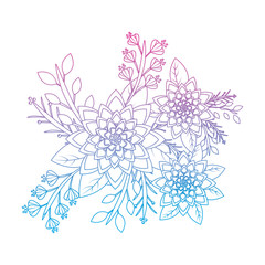 flower with delicate leaves floral icon image vector illustration design