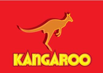 3D Stylish kangaroo logo glossy vector illustration