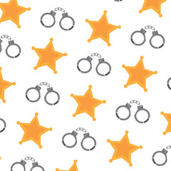 sheriff star and handcuffs police pattern image vector illustration design