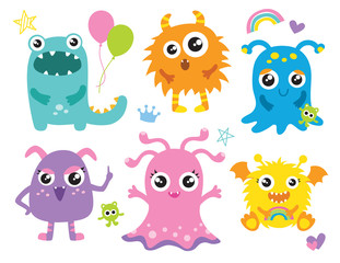 Cute little monsters vector illustration. Furry cute alien character set.