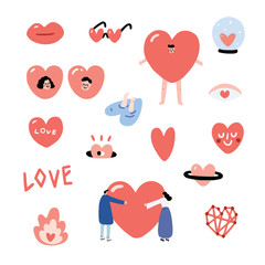 Set of Valentines hand drawn vector illustration with a lip,eyes, sunglasses, glass ball, hole, , man, girl, people hug, font, connect dot, costume,smiley, fire,planet. Heart character set.