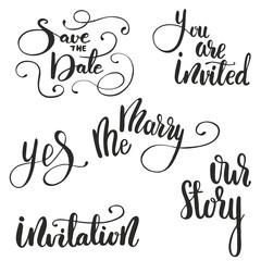 Wedding Lettering Set. Vector illustration.