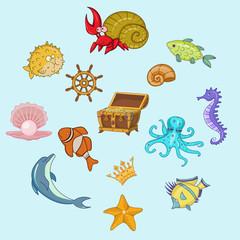 Sea animals cartoon hand drawn illustration