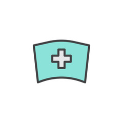 Medical nurse hat filled outline icon, line vector sign, linear colorful pictogram isolated on white. Symbol, logo illustration. Pixel perfect vector graphics