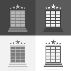 Vector set hotel image. Hotel business icon. Image icon of a five-star hotel.